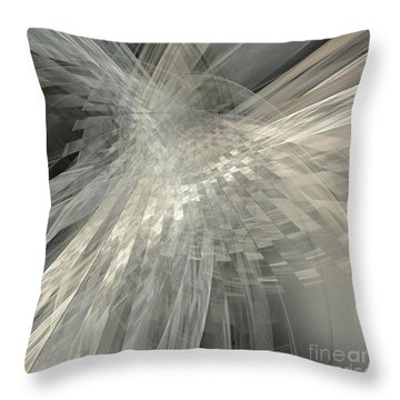 Weaving White And Gray Throw Pillow by Elizabeth McTaggart