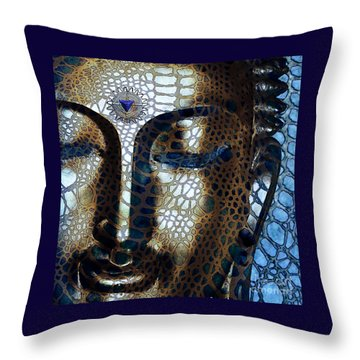 Web Of Dharma - Modern Blue Buddha Art Throw Pillow