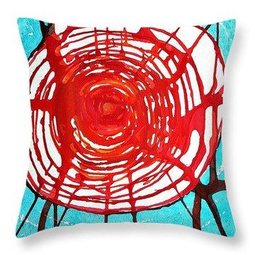 Web Of Life Original Painting Throw Pillow by Sol Luckman