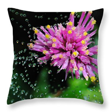 Webbed Water Droplets Throw Pillow