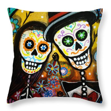 Wedding Dia De Los Muertos Throw Pillow by Pristine Cartera Turkus