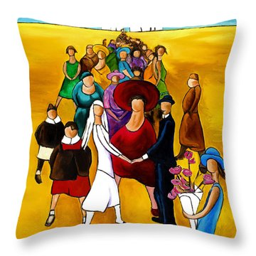 Wedding Holding Hands Throw Pillow by William Cain