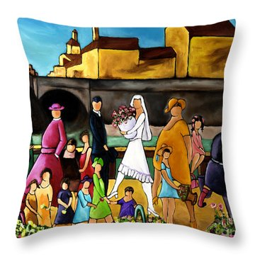 Wedding In Front Of Bridge Throw Pillow by William Cain