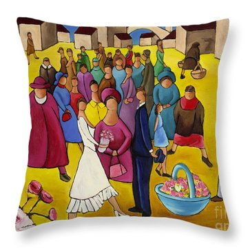 Wedding In Plaza Throw Pillow by William Cain