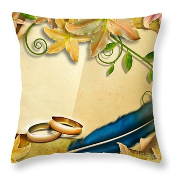 Wedding Memories V4 Natural Throw Pillow by Bedros Awak