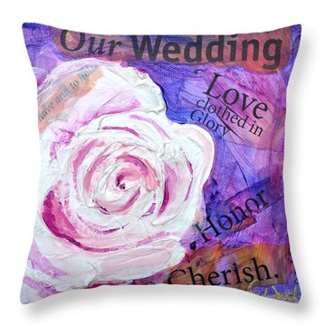 Throw Pillow featuring the painting Wedding Rose by Lisa Fiedler Jaworski