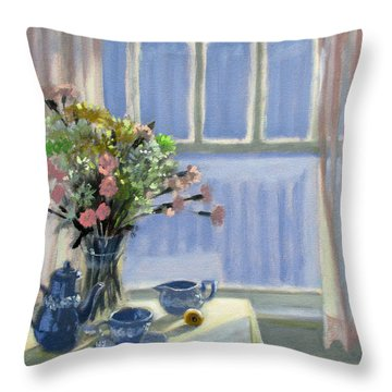 Wedgewood Blues - Flowers By The Window Throw Pillow by Bonnie Mason
