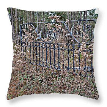 Throw Pillow featuring the photograph Weedy Gate by Linda Brown