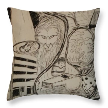 Throw Pillow featuring the drawing Weekend by Thomasina Durkay