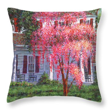Weeping Cherry By The Veranda Throw Pillow