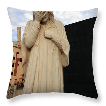 Weeping Jesus Statue In Oklahoma City Throw Pillow