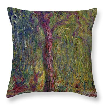 Weeping Willow Throw Pillow by Claude Monet