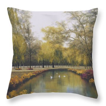Weeping Willow Throw Pillow by Diane Romanello