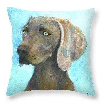 Weimaraner Dog Throw Pillow by Mary Jo Zorad