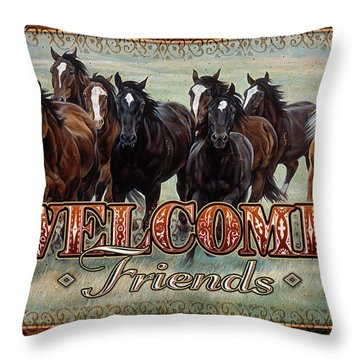 Throw Pillow featuring the painting Welcome Friends Horses by JQ Licensing