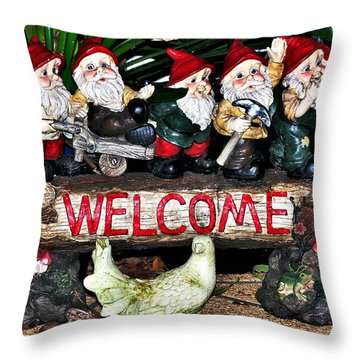 Welcome From The Seven Dwarfs Throw Pillow by Kaye Menner