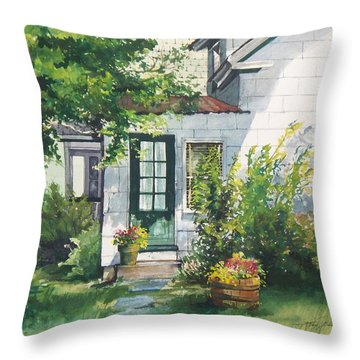 Throw Pillow featuring the painting Welcome by Joy Nichols