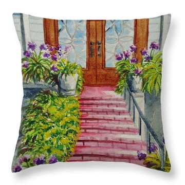 Throw Pillow featuring the painting Welcome by Katherine Young-Beck