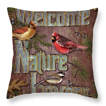 Welcome Nature Lovers 2 Throw Pillow by JQ Licensing