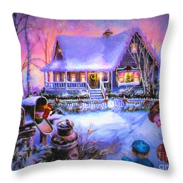Throw Pillow featuring the digital art Welcome Santa - Retro Vintage Inspired Christmas Scene by Lianne Schneider