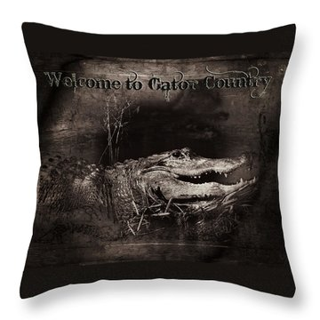 Welcome To Gator Country Throw Pillow by Mark Andrew Thomas