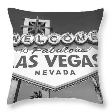 Welcome To Las Vegas Sign Black And White Throw Pillow