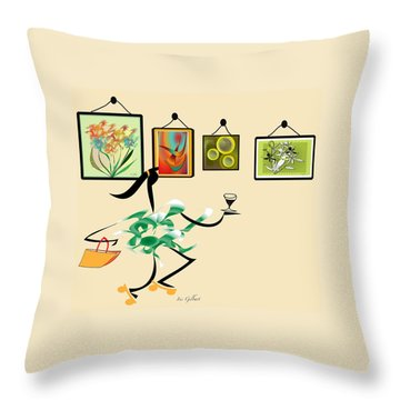 Welcome To My Art Show Throw Pillow by Iris Gelbart