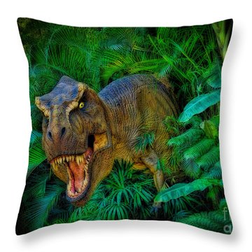 Welcome To My Park Tyrannosaurus Rex Throw Pillow