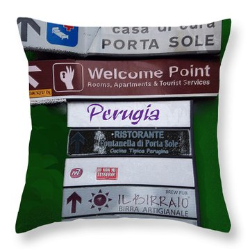 Welcome To Perugia Throw Pillow by Caroline Stella