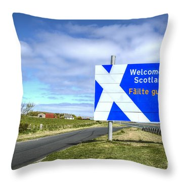 Welcome To Scotland Throw Pillow