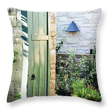Welcome To The Garden Throw Pillow by Andee Design