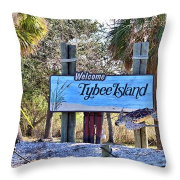 Welcome To Tybee Throw Pillow