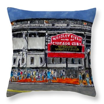 Welcome To Wrigley Field Throw Pillow by Phil Strang