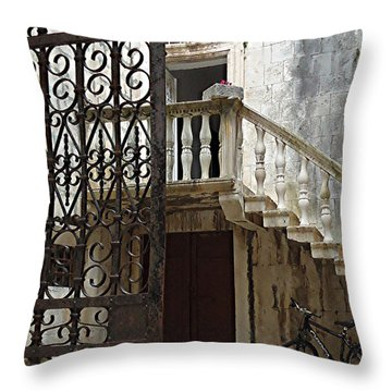 Welcome Zagreb Style Throw Pillow by Ann Johndro-Collins