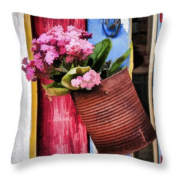 Welcoming Flowers Throw Pillow