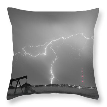 Weld County Dacona Oil Fields Lightning Thunderstorm Bwsc Throw Pillow by James BO  Insogna