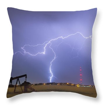 Weld County Dacona Oil Fields Lightning Thunderstorm Throw Pillow by James BO  Insogna