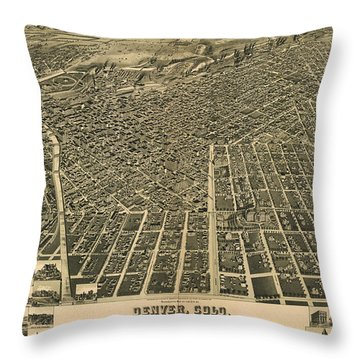 Wellge's Birdseye Map Of Denver Colorado - 1889 Throw Pillow by Eric Glaser