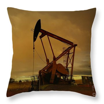 Wellhead At Dusk Throw Pillow by Jeff Swan