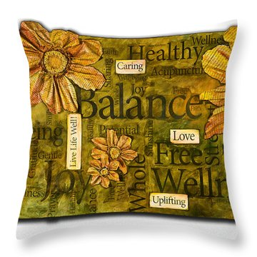 Throw Pillow featuring the painting Wellness by Lisa Fiedler Jaworski