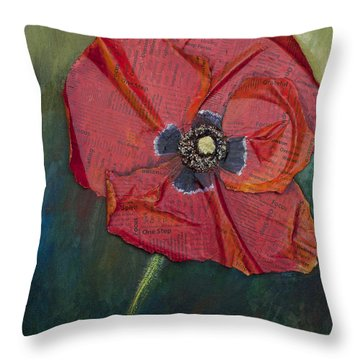 Throw Pillow featuring the painting Wellness Poppy by Lisa Fiedler Jaworski