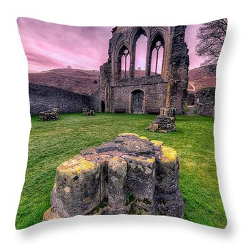 Welsh Abbey  Throw Pillow by Adrian Evans
