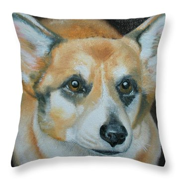 Throw Pillow featuring the painting Welsh Corgi by Thomas J Herring