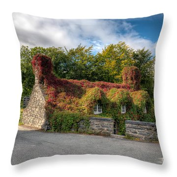 Welsh Cottage Throw Pillow by Adrian Evans