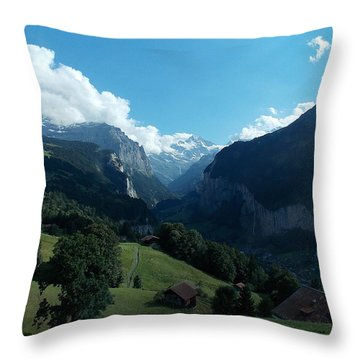Wengen View Of The Alps Throw Pillow