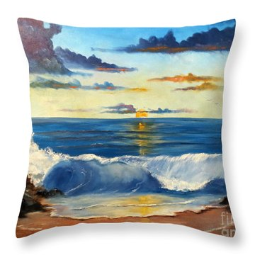 Throw Pillow featuring the painting West Coast Sunset by Lee Piper