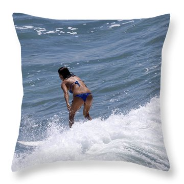 West Coast Surfer Girl Throw Pillow by Duncan Selby