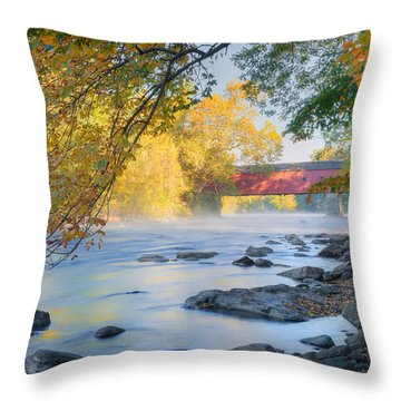 Throw Pillow featuring the photograph West Cornwall Covered Bridge Autumn by Bill Wakeley