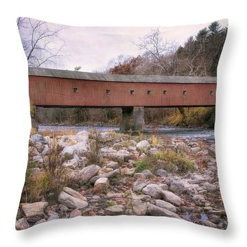 West Cornwall Covered Bridge Throw Pillow