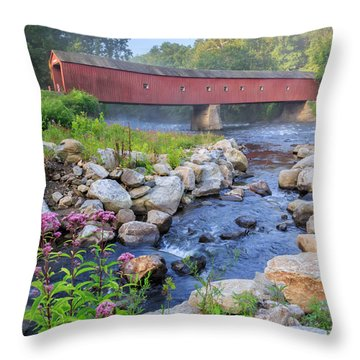 West Cornwall Covered Bridge Square Throw Pillow